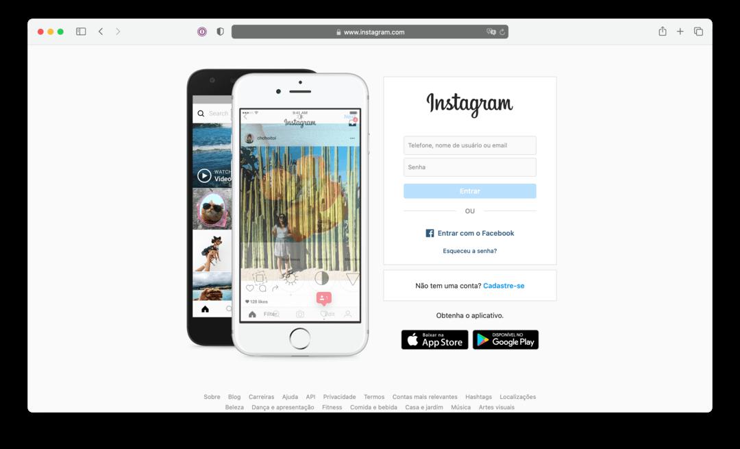 Acesse o site Instagram.com