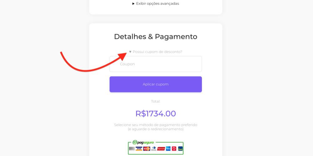 aplicar cupom checkout seguidores.com.br