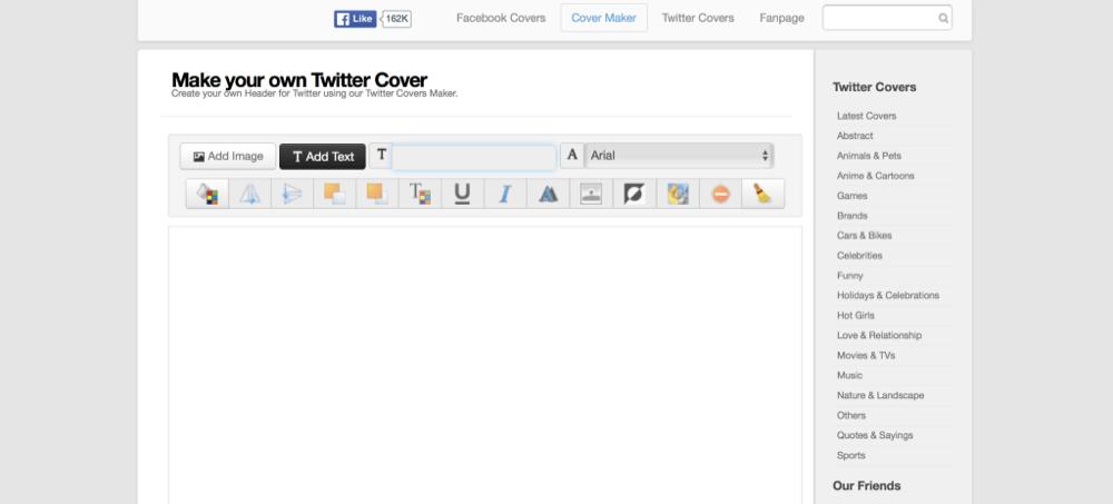 Covermaker criar capas Twitter