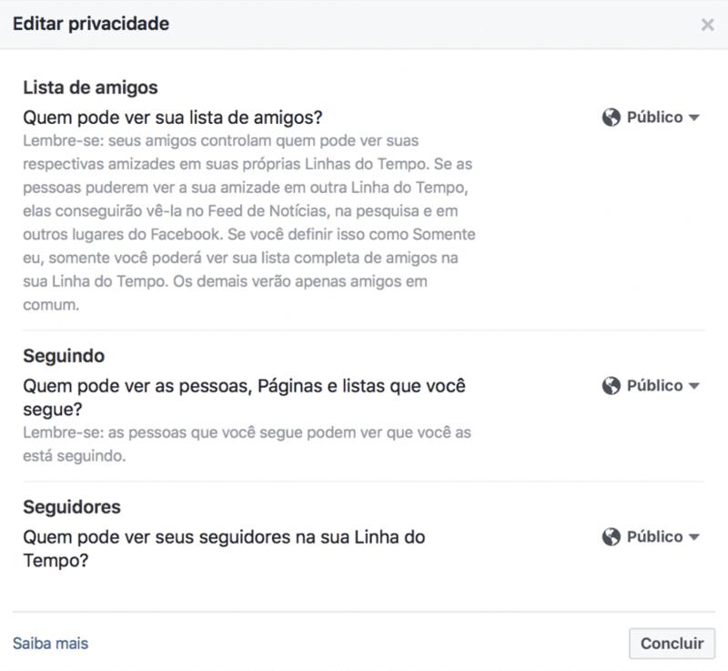Editar privacidade Facebook