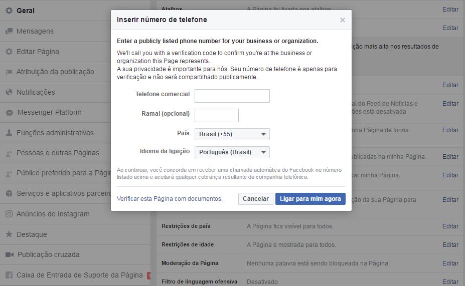 Informe número verificação após ligação do Facebook