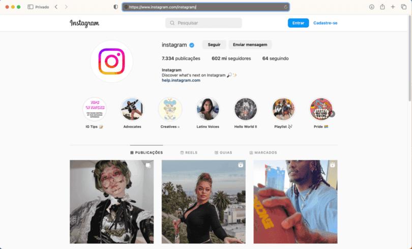 perfil @instagrambrasil