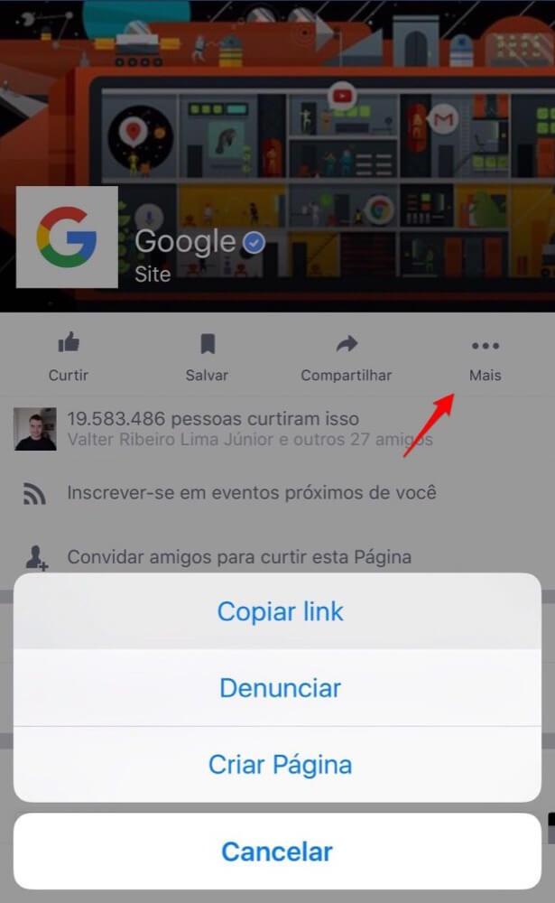 copiar link página facebook pelo smartphone