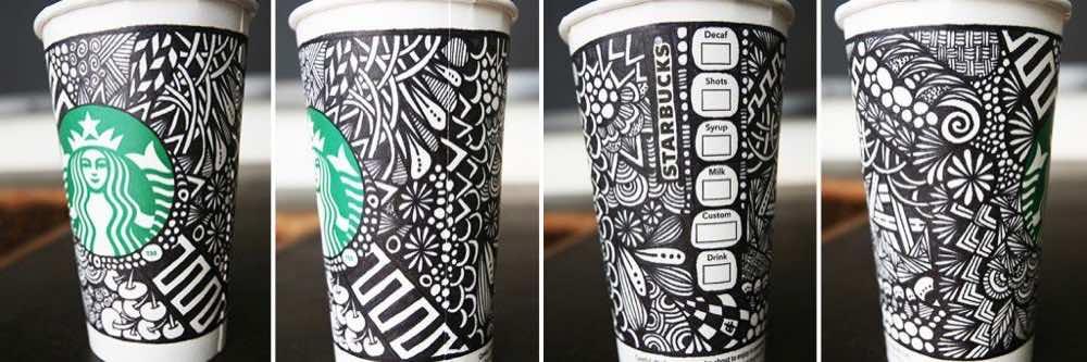Starbucks desafiou sua comunidade criativa para criar um design exclusivo para sua própria edição limitada de copos reutilizáveis com a hashtag #WhiteCupContest.
